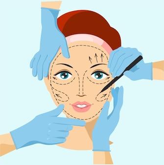 Ilustração de mãos perto de rosto de mulher com desenho de cirurgia plástica
