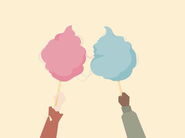 Ilustração, de, mãos, segurando, algodão doce