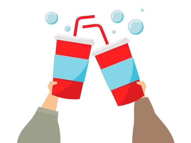 Ilustração de mãos segurando bebidas refrigerantes