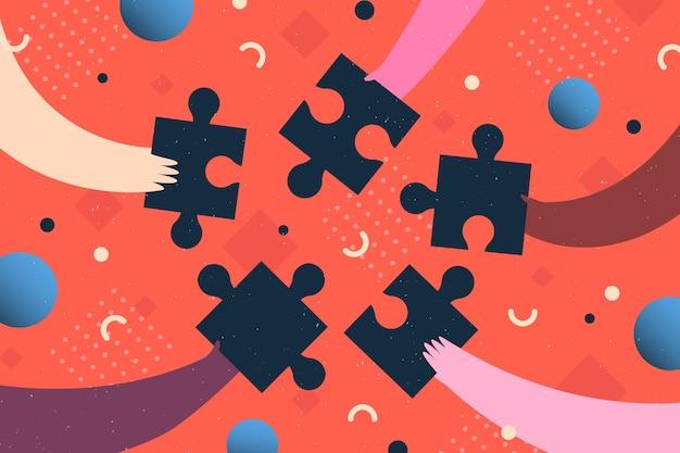Ilustração de mãos segurando peças de quebra-cabeça