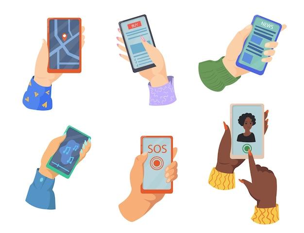 Ilustração de mãos segurando smartphones