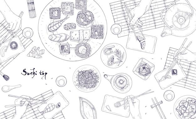 Ilustração de mãos segurando sushi japonês, sashimi e rolos com pauzinhos desenhados com linhas de contorno