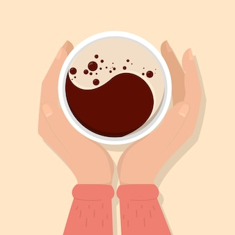 Ilustração de mãos segurando uma xícara de café