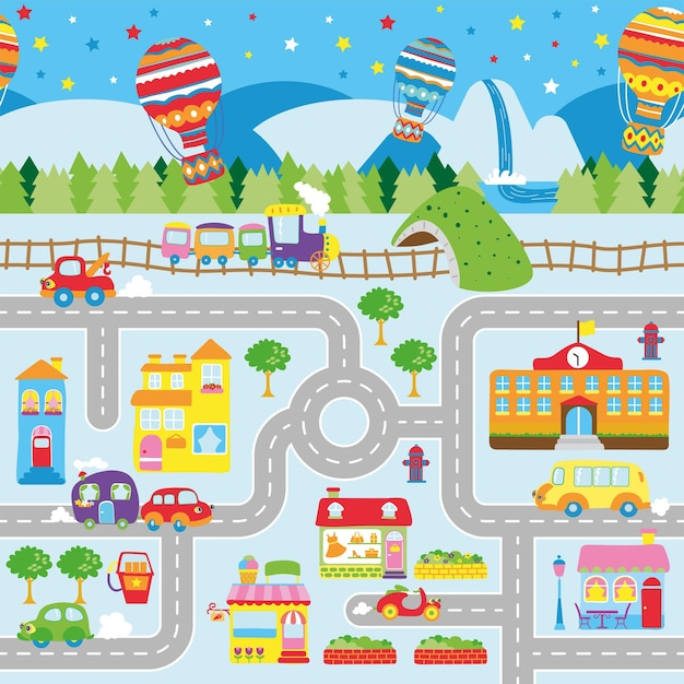 Ilustração de mapas de estradas da cidade para crianças com design de tapete rolante