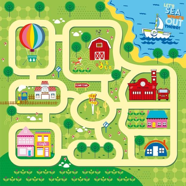 Ilustração de mapas de trilhas de minha cidade natal para crianças brincarem design de esteira e esteira rolante