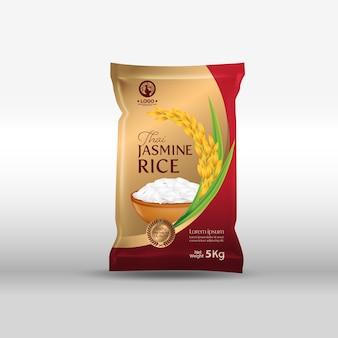 Ilustração de maquete de pacote de arroz na tailândia