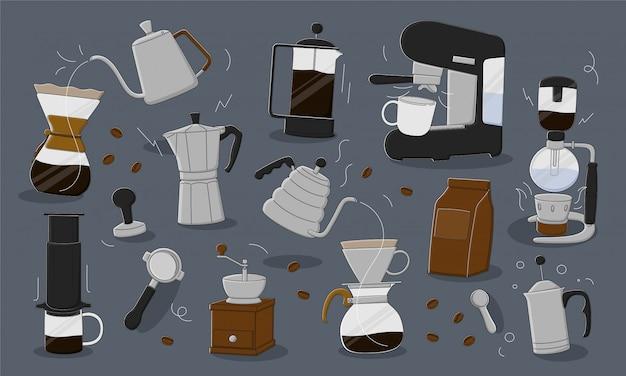 Ilustração de máquina de café. conjunto de design plano de cafeteira em fundo cinza