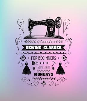 Ilustração de máquina de costura vintage com texto
