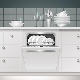 Ilustração de máquina de lavar louça embutida com porta aberta e utensílios limpos em uma cozinha
