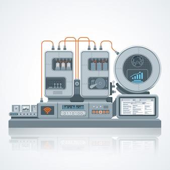 Ilustração de máquina do vetor site seo, processo de otimização com engenharia em design de estilo flat