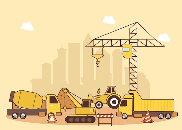 Ilustração de maquinaria de construção de edifícios