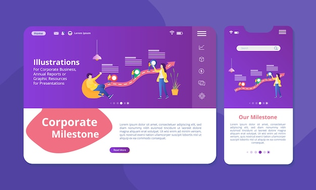 Ilustração de marco empresarial na tela para web ou visor móvel.