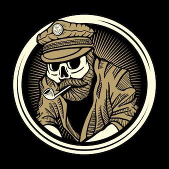Ilustração de marinheiro de caveira