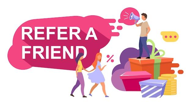 Ilustração de marketing de referência. recompensas por indicação, bônus.