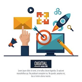 Ilustração de marketing digital e propaganda