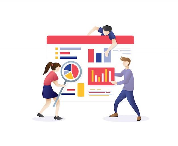 Ilustração de marketing digital na web
