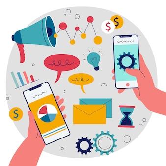 Ilustração de marketing móvel