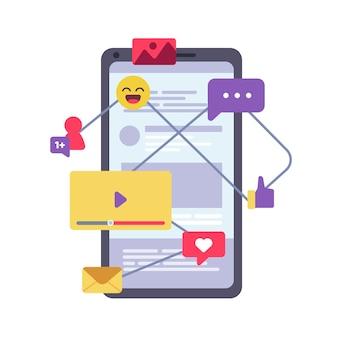 Ilustração de marketing móvel Vetor grátis