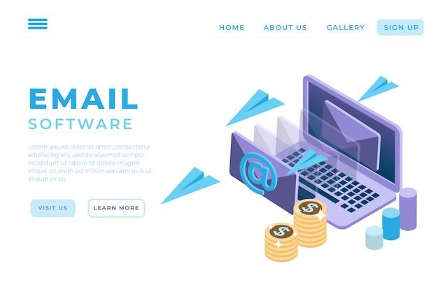 Ilustração de marketing on-line por e-mail, serviços de suporte on-line com o conceito de páginas de destino isométricas e cabeçalhos da web
