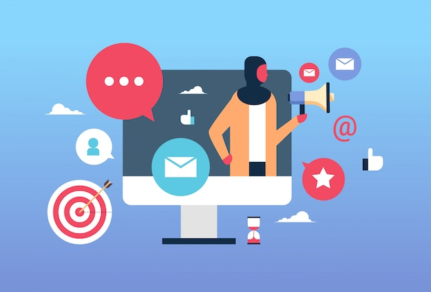 Ilustração de marketing online com uma mulher de negócios