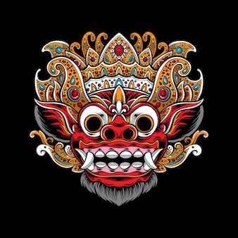 Ilustração de máscara de barong balinesa