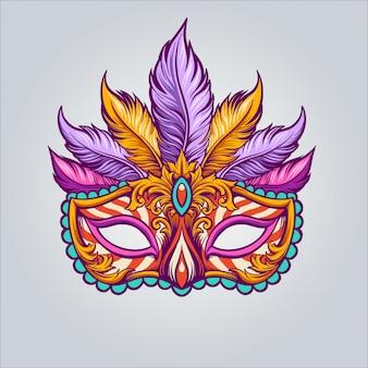 Ilustração de máscara de carnaval