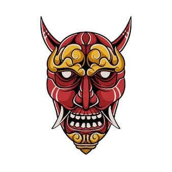 Ilustração de máscara de demônio japonês