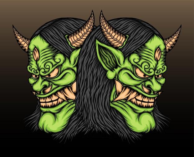 Ilustração de máscara de dois hannya verde.