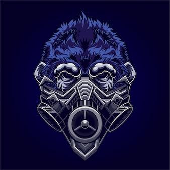 Ilustração de máscara de gás gorila