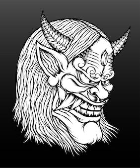 Ilustração de máscara de hannya branco preto.