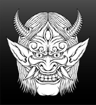 Ilustração de máscara de hannya monocromática.