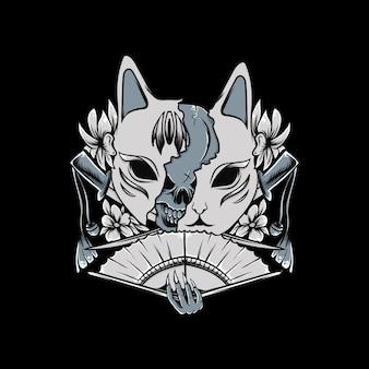 Ilustração de máscara de kitsune com flor em preto e branco