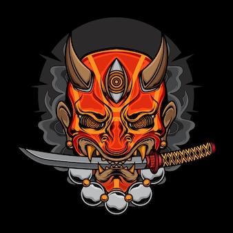 Ilustração de máscara de oni demônio katana