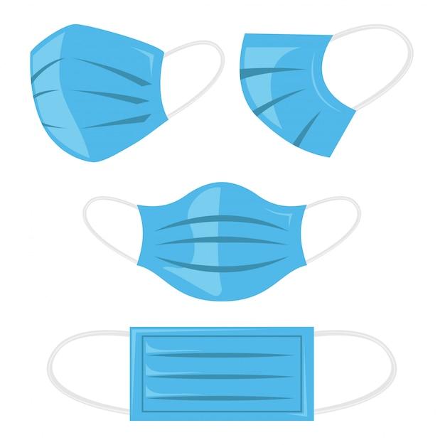 Ilustração de máscara de respiração de segurança, proteção contra poeira e respiração médica respiratória. máscaras de corona.