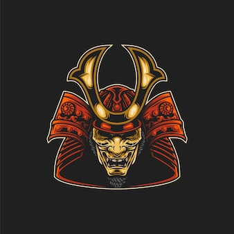 Ilustração de máscara de samurai