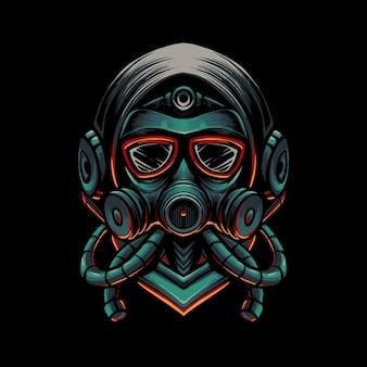 Ilustração de máscara de vírus escuro