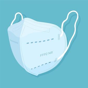 Ilustração de máscara facial ffp2 plana