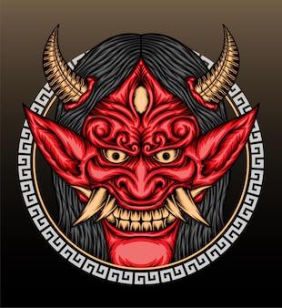 Ilustração de máscara hannya vermelha legal.