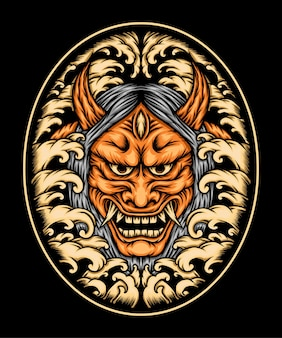 Ilustração de máscara laranja oni. vetor premium
