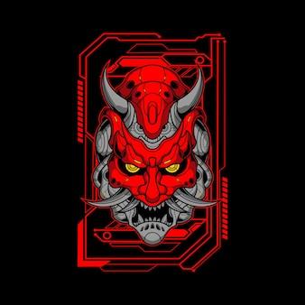 Ilustração de máscara mecha oni vermelha
