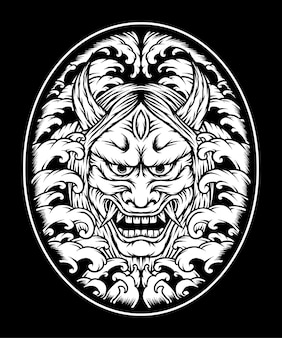 Ilustração de máscara oni monocromática. vetor premium
