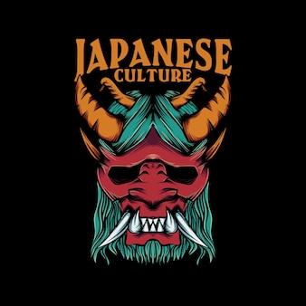 Ilustração de máscara oni para camiseta com letras da cultura japonesa