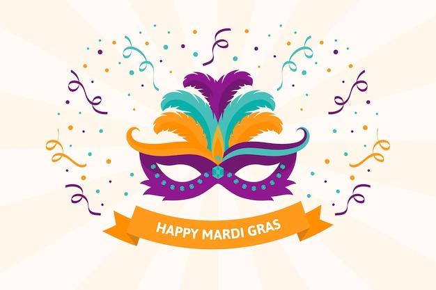 Ilustração de máscara plana de mardi gras
