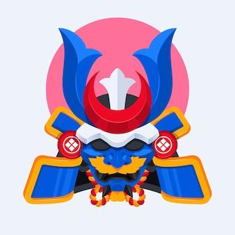 Ilustração de máscara plana de samurai