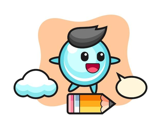 Ilustração de mascote bolha andando em um lápis gigante, design de estilo bonito