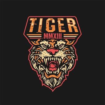 Ilustração de mascote com raiva tigre esporte logotipo