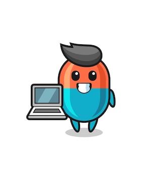 Ilustração de mascote da cápsula com um laptop, design de estilo fofo para camiseta, adesivo, elemento de logotipo