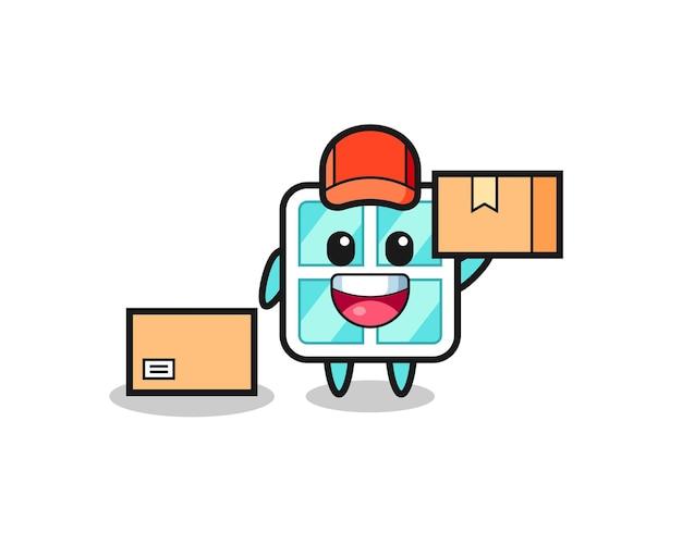Ilustração de mascote da janela como um correio, design de estilo fofo para camiseta, adesivo, elemento de logotipo