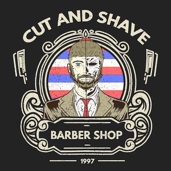 Ilustração de mascote de barbearia vintage.