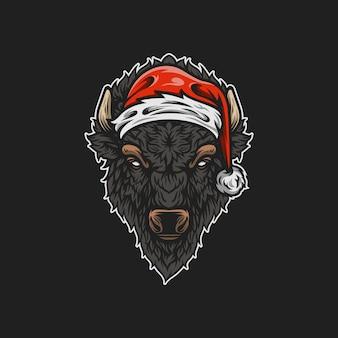 Ilustração de mascote de bisonte de santa